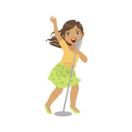 Girl In Green Skirt Singing In Karaoke