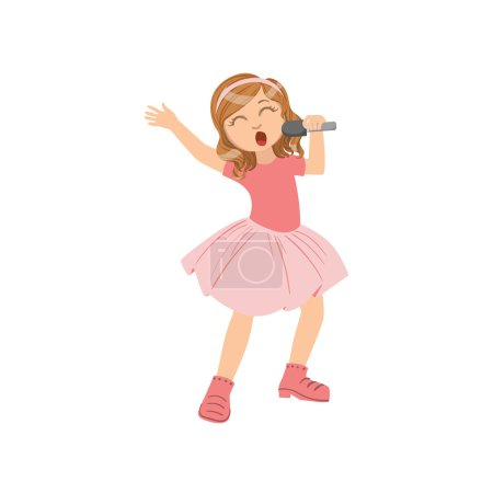 Girl In Pink Outfit Singing In Karaoke