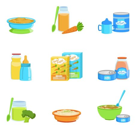 Baby Food And Products Set Of Icons