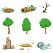 Natural Landscape Objects Set Of Detailed Icons Isolated Drawings Of Plants And Rocks For Landscaping On White Background
