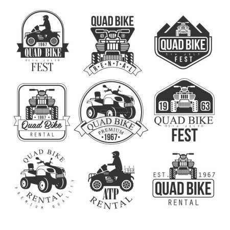 Quad Bike Rental Service Black And White Emblems