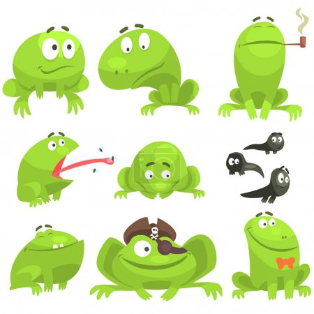 Green Frog Funny Character Set Of Different Emotions