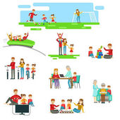 Happy Family Having Fun Together Set Of Illustrations Bright Color Simplified Cartoon Style Cute Family Scenes On White Background