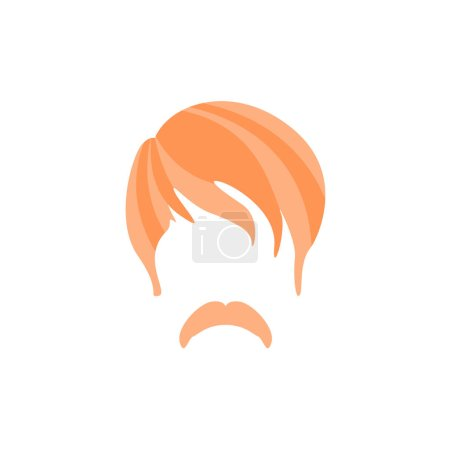 Hipster Male Hair and Facial  Style With Hippie Moustache