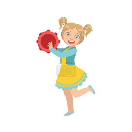 Girl With Ponytails Playing Tambourine
