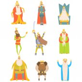 Fairy-Tale Kings Set Of Cartoon Fun Illustrations