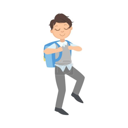 Boy In School Uniform And Backpack Going To Studies