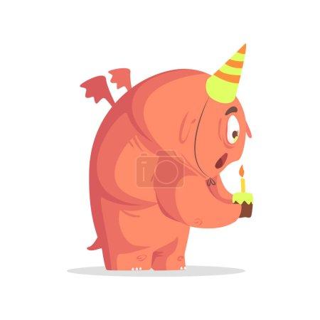 Illustration pour Géant pi rose monstre soufflant bougie sur cupcake funky créature personnage coloré avec des attributs de partie sur fond blanc . - image libre de droit