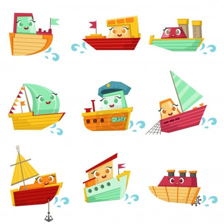 Toy Boats With Faces Colorful Illustration Set
