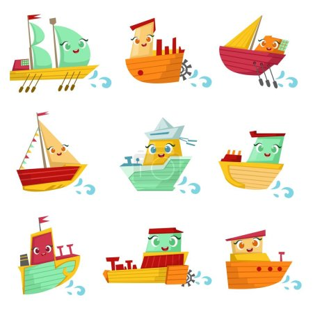 Toy Ships With Faces Colorful Illustration Set