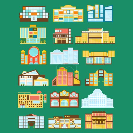Illustration for Shopping Mall, Department Store And Supermarket Shops Architecture Ideas Set. Commercial Buildings For Shopping Contemporary Architectural Exterior Design Collection - Royalty Free Image