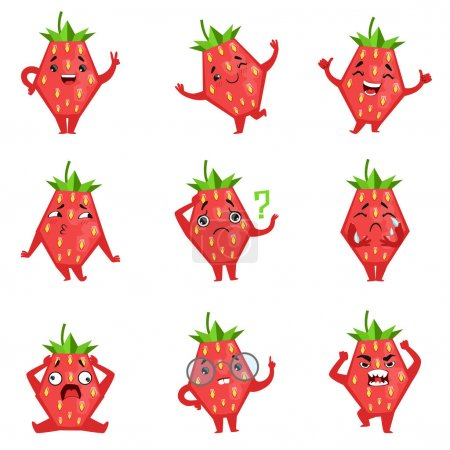 Geometric Strawberry Character Funny Emoticons