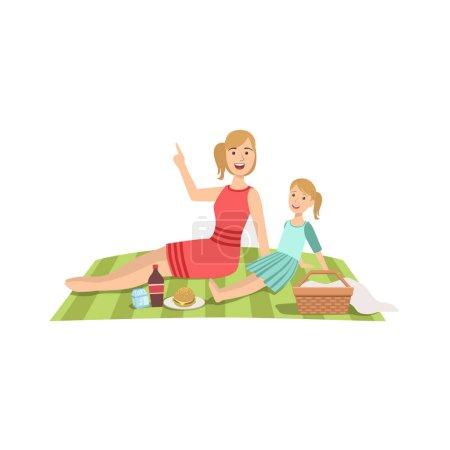 Illustration pour Mère et enfant ayant pique-nique ensemble Illustration. Simple cute Cartoon Style dessin de mère célibataire et son passe-temps Kid. - image libre de droit