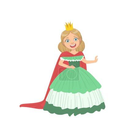 Illustration pour Petite fille en robe verte habillée en princesse conte de fées. Caractère plat mignon d'enfant dans des vêtements colorés lumineux isolés sur fond blanc - image libre de droit