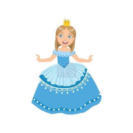 Little Girl In Blue Dress Dressed As Fairy Tale Princess
