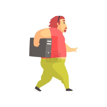 Programmer Walking Holding System Unit Funny Character