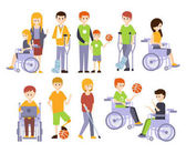 Physically Handicapped People Living Full Happy Life With Disability Set Of Illustrations With Smiling Disabled Men And Women