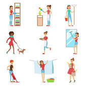 Happy Modern Housewives Shopping And Housekeeping Performing Different Household Duties With A Smile Staying-at-home Wives In Traditional Female Family Role Set Of Colorful Cartoon Illustrations
