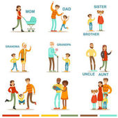 Happy Large Family With All The Relatives Gathering Including Mother Father Aunt Uncle And Grandparents Illustrations With Corresponding Words
