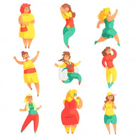 Illustration for Happy Plus Size Women In Colorful Fashion Clothes Enjoying Life Set Of Smiling Overweighed Girls Cartoon Characters. Flat Vector Illustrations With Pleasantly Plump Cute Ladies On White Background. - Royalty Free Image