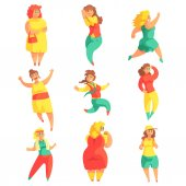 Happy Plus Size Women In Colorful Fashion Clothes Enjoying Life Set Of Smiling Overweighed Girls Cartoon Characters Flat Vector Illustrations With Pleasantly Plump Cute Ladies On White Background