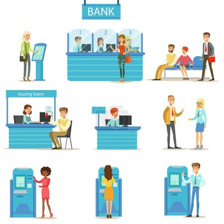 Bank Service Professionals And Clients Different Financial Affairs Consultancy, ATM Cash Manipulation And Other Business Set Of Illustrations