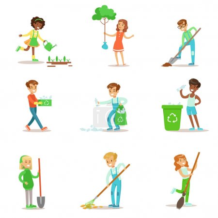 Illustration for Children Helping In Eco-Friendly Gardening, Planting Trees, Cleaning Up Outdoors, Recycling The Garbage And Watering Sprouts. Happy Kids Interacting With Nature And Participating In Garden Clean-up - Royalty Free Image