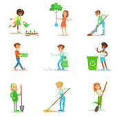 Children Helping In Eco-Friendly Gardening Planting Trees Cleaning Up Outdoors Recycling The Garbage And Watering Sprouts Happy Kids Interacting With Nature And Participating In Garden Clean-up