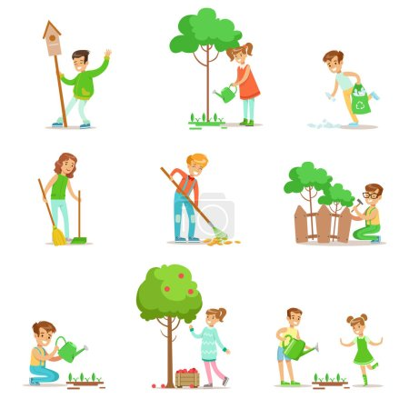 Children Helping In Eco-Friendly Gardening, Collecting Fruit, Cleaning Up Outdoors, Recycling The Garbage And Watering Sprouts