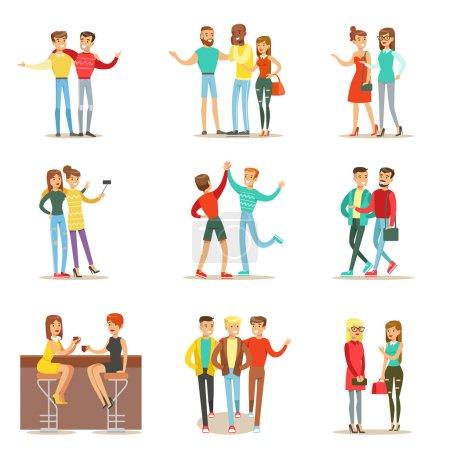 Illustration pour Meilleurs amis heureux passer du bon temps ensemble, sortir et parler ensemble d'illustrations thématiques de l'amitié. Personnages vectoriels de bande dessinée souriants Hommes et femmes passent du temps avec leurs amis et - image libre de droit