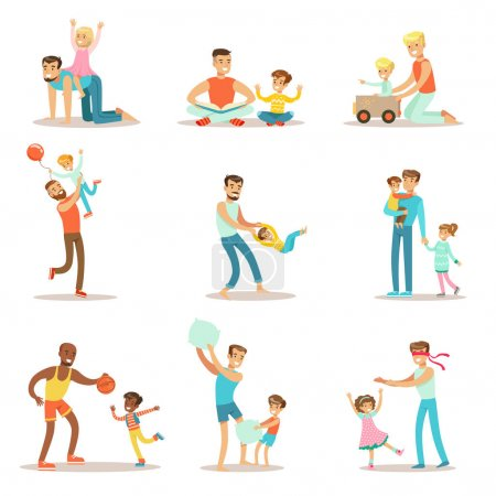 Illustration for Loving Fathers Playing And Enjoying Good Quality Daddy Time With Their Happy Children Set Of Cartoon Illustrations Single Dad And Kid Smiling Flat Colorful Vector Characters Collection. - Royalty Free Image