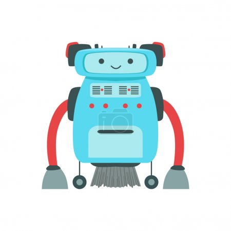 Blue Friendly Android Robot Character With Hair Vector Cartoon Illustration