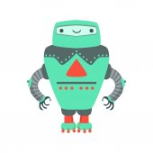 Grenn Giant Friendly Android Robot Character Vector Cartoon Illustration Futuristic Bionic Person Portrait In Childish Manner Part Of Fantasy Droids Collection
