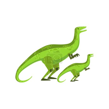 Illustration for Velociraptor Dinosaur Prehistoric Monster Couple Of Similar Specimen Big And Small Cartoon Vector Illustration. Part Of Jurassic Reptiles Species Collection Of Childish Drawings. - Royalty Free Image