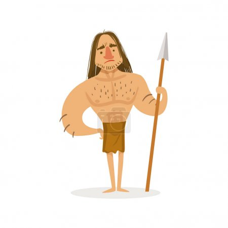 Tall Muscly Warrior With A Spear Wearing Loincloth Cartoon Illustration Of First Homo Sapiens Troglodyte In Animal Pelt Living In Stone Age