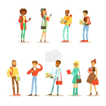 Illustration for University And College Students Street Fashion Looks Collection With Young Men And Women With Bags And Books. Modern Young Adults Going To Their Studies Looking Cool In Hipster Clothing Style. - Royalty Free Image