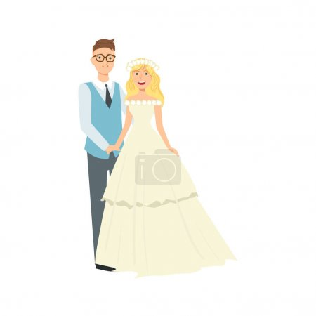 Blond Bride With Loose Hair And Groom Newlywed Couple In Traditional Wedding Dress And Suit Smiling And Posing For Photo