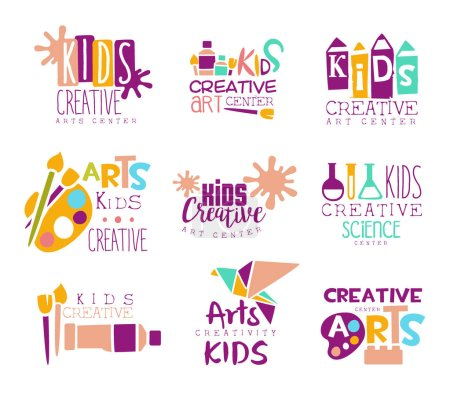 Illustration for Kids Creative Class Template Promotional Logo Set With Symbols Of Art and Creativity, Painting And Origami. Children Artistic Development Promo Advertisement Signs With Text. - Royalty Free Image