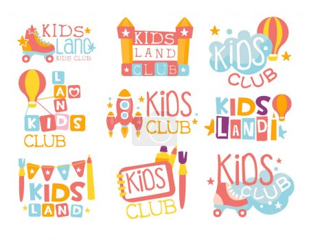 Illustration for Kids Land Playground And Entertainment Club Set Of Colorful Promo Signs For The Playing Space For Children. Template Promotional Logos With Toys And Rides For The Entertaining Family Center. - Royalty Free Image