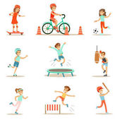 Kids Practicing Different Sports And Physical Activities In Physical Education Class Gym And Outdoors Children Playing Football Baseball Riding Bicycle And Boxing