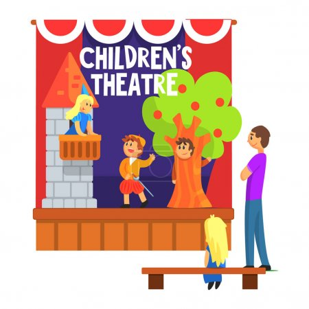 Prince Saving Princess From The Tower Scene Performed By Kids In Amateur Theatre With Other Pupils Watching With Teacher