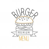Burger With Sesame Seeds Bun Premium Quality Fast Food Street Cafe Menu Promotion Sign In Simple Hand Drawn Design Vector Illustration