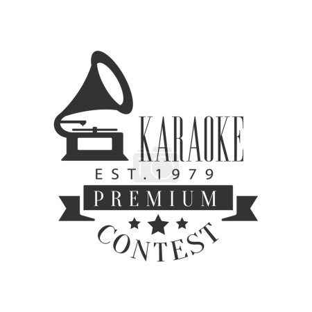 Singing Contest Karaoke Premium Quality Bar Club Monochrome Promotion Retro Sign Vector Design Template