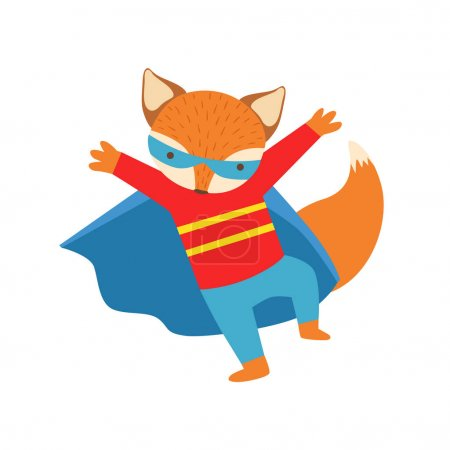 Illustration for Fox Animal Dressed As Superhero With A Cape Comic Masked Vigilante Character. Part Of Fauna With Super Powers Flat Cartoon Vector Collection Of Illustrations. - Royalty Free Image