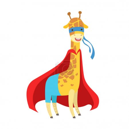 Illustration pour Girafe Animal habillé en super-héros avec un personnage de Vigilante masqué Cape Comic. Partie De Faune Avec Super Puissances Cartoon Vector Collection Plat D'illustrations . - image libre de droit