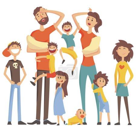 Illustration pour Famille caucasienne heureuse avec beaucoup d'enfants Portrait avec tous les enfants et les bébés et les parents fatigués Illustration colorée. dessin animé aimer les membres de la famille dessin avec des enfants d'âges différents, homme et - image libre de droit