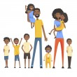 Happy Black Family With Many Children Portrait With All The Kids And Babies And Smiling Parents Colorful Illustration