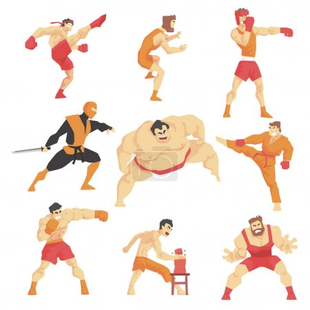 Martial Arts Fighters Demonstrating Different Technique Kicks Set Of Asian Fighting Sports Professional In Traditional Fighting Outfits Sportive Clothing
