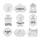 Set Of Hand Drawn Monochrome Mardi Gras Event Promotion Signs In Pencil Sketch Style With Calligraphic Text And Detailed Vintage Frames Theatre Festival Artistic Labels Design Templates Collection In