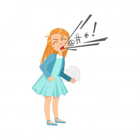 Girl Cursing Teenage Bully Demonstrating Mischievous Uncontrollable Delinquent Behavior Cartoon Illustration